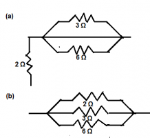 2 ohm, 3 ohm and 6 ohm resistors are arranged to get required equivalent resistor