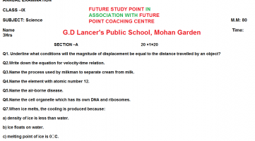 Gd lancer's public scool science question papers
