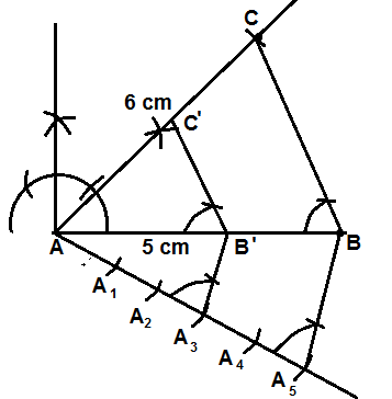 construction of triangle 3/5 th of the given triagle