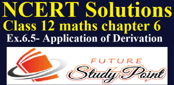 Class 12 Maths NCERT solutions of exercise 6.5-Application of Derivations